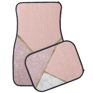 Elegant geometric rose gold glitter white marble car mat