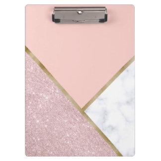 Elegant geometric rose gold glitter white marble clipboard