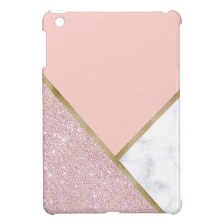 Elegant geometric rose gold glitter white marble iPad mini case
