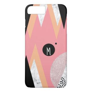 Elegant geometric rose gold glitter white marble iPhone 8 plus/7 plus case