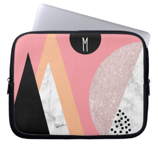 Elegant geometric rose gold glitter white marble laptop sleeve
