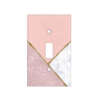Elegant geometric rose gold glitter white marble light switch cover