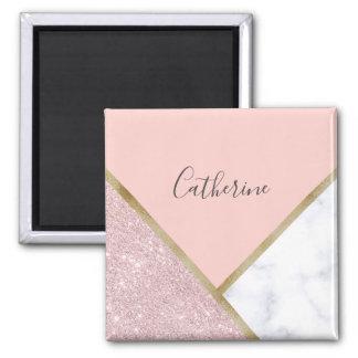 Elegant geometric rose gold glitter white marble magnet