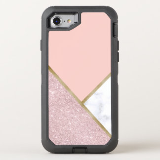 Elegant geometric rose gold glitter white marble OtterBox defender iPhone 8/7 case