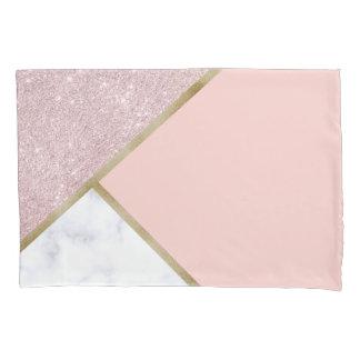 Elegant geometric rose gold glitter white marble pillowcase