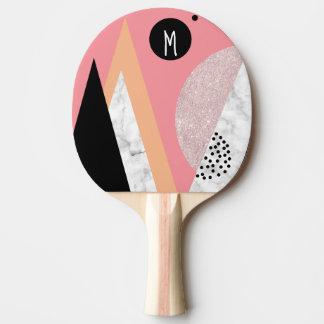 Elegant geometric rose gold glitter white marble ping pong paddle