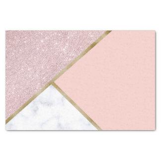 Elegant geometric rose gold glitter white marble tissue paper