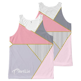 Elegant geometric stripes polka dots pastel All-Over-Print tank top