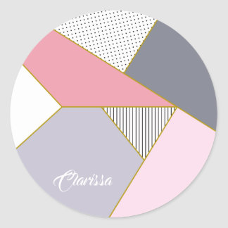 Elegant geometric stripes polka dots pastel classic round sticker