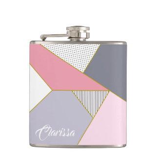 Elegant geometric stripes polka dots pastel hip flask