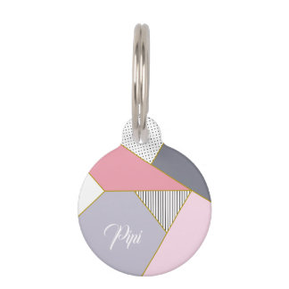 Elegant geometric stripes polka dots pastel pet name tag