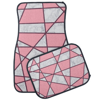 elegant geometric white marble pastel pink and red car mat