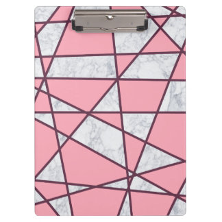 elegant geometric white marble pastel pink and red clipboard
