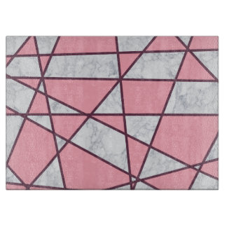 elegant geometric white marble pastel pink and red cutting board