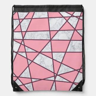 elegant geometric white marble pastel pink and red drawstring bag