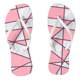elegant geometric white marble pastel pink and red flip flops