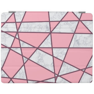 elegant geometric white marble pastel pink and red iPad cover