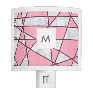 elegant geometric white marble pastel pink and red night light