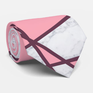 elegant geometric white marble pastel pink and red tie