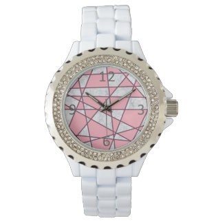 elegant geometric white marble pastel pink and red watch