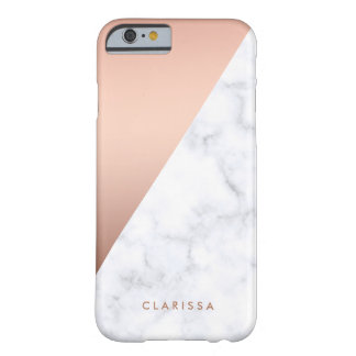 elegant geometric white marble rose gold foil barely there iPhone 6 case