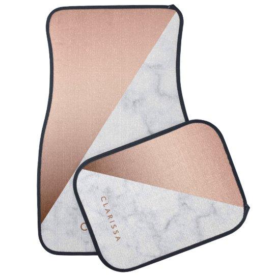 elegant geometric white marble rose gold foil car floor carpet