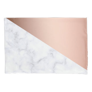elegant geometric white marble rose gold foil pillowcase