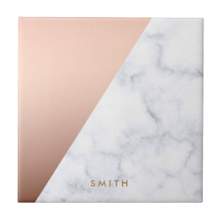 elegant geometric white marble rose gold foil tiles