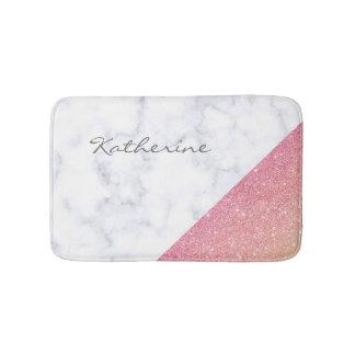 Elegant geometric white marble rose gold glitter bath mat