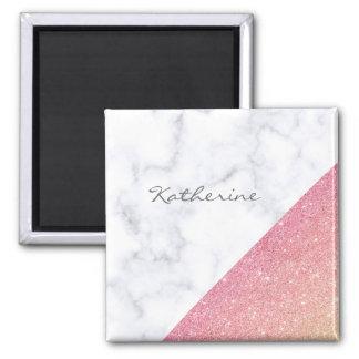 Elegant geometric white marble rose gold glitter magnet