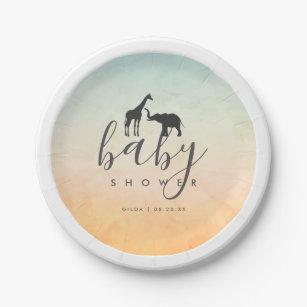 Elegant Giraffe Elephant Baby Shower Paper Plate  sc 1 st  Zazzle CA & Giraffe Paper Plates | Zazzle.ca