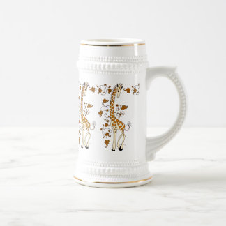 Elegant giraffes gold and white beer stein