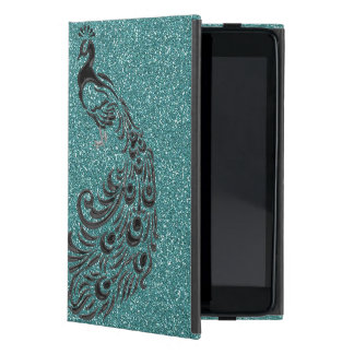 Elegant Girly Aqua Glitter Black Peacock iPad Case