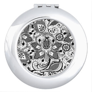 Elegant Girly Black And White Vintage Lace Compact Mirror