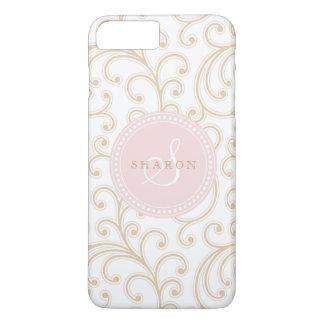 Elegant girly gold pink floral pattern monogram iPhone 7 plus case
