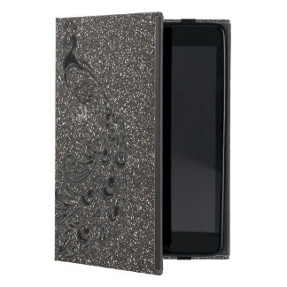 ELegant Girly Gray Glitter Black Peacock iPad Case
