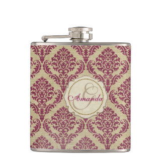 Elegant Girly Grey and Purple Damask Monogram Flask