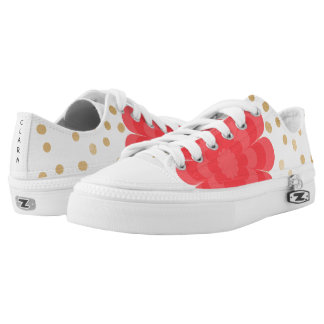 elegant girly pink flower gold polka dots pattern Low-Top sneakers