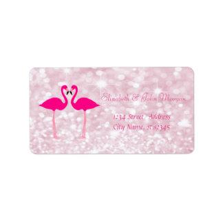 Elegant Girly  Pink Glittery,Bokeh, Pink Flamingos Label