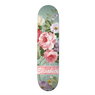Elegant Girly Pink Red Roses Monogram Skateboard Deck