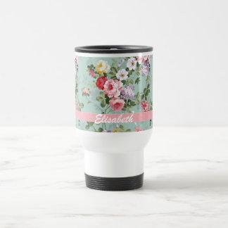 Elegant Girly Pink Red Roses Monogram Travel Mug