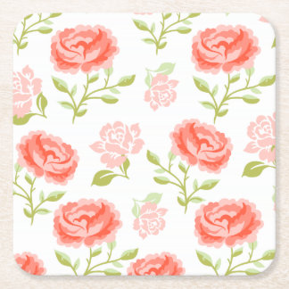 Elegant Girly Pink Roses Square Paper Coaster