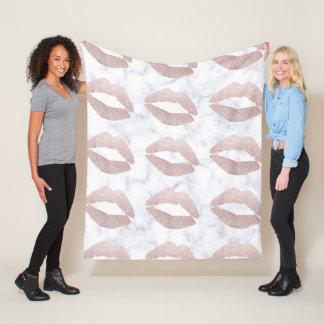 elegant girly rose gold glitter lips white marble fleece blanket