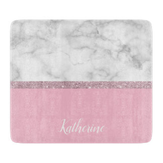 Elegant girly rose gold glitter white marble pink boards