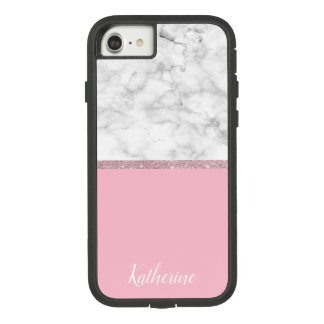 Elegant girly rose gold glitter white marble pink Case-Mate tough extreme iPhone 8/7 case