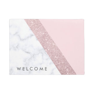 elegant girly rose gold glitter white marble pink doormat
