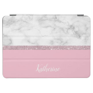 Elegant girly rose gold glitter white marble pink iPad air cover