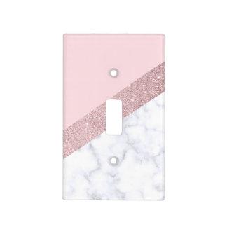 elegant girly rose gold glitter white marble pink light switch cover