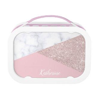 Elegant girly rose gold glitter white marble pink lunch box