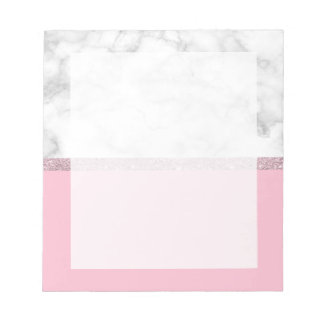 Elegant girly rose gold glitter white marble pink notepad